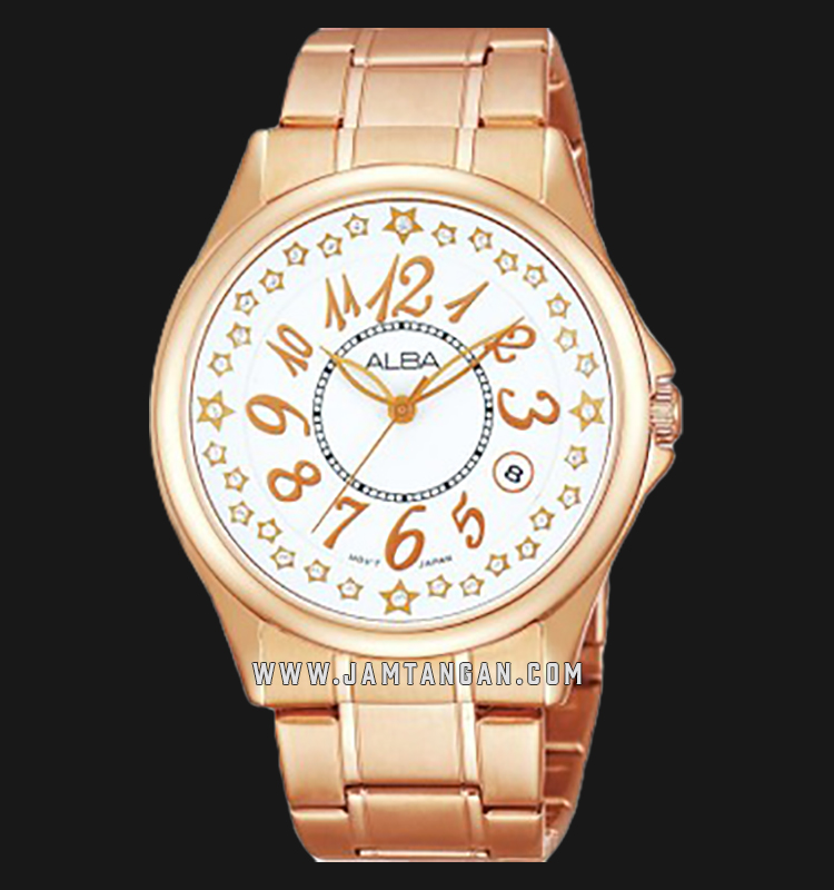 Alba AG8218X1 White Dial Rose Gold Stainless Steel Machtwatch