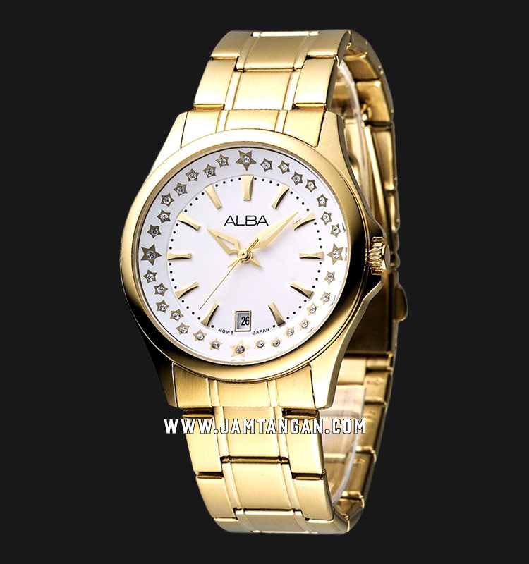 Alba AG8220X1 Ladies White Dial Gold Stainless Steel Strap Machtwatch