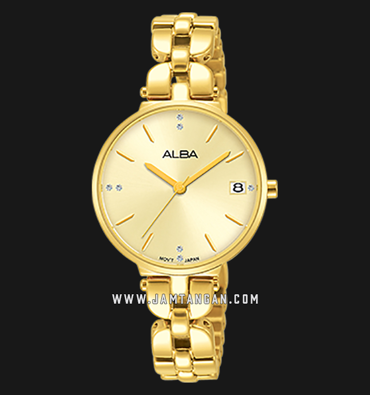 Alba AG8J48X1 Light Gold Dial Gold Stainless Steel Machtwatch