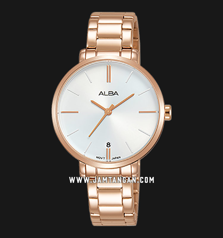 Alba AG8J58X1 Ladies Silver Dial Rose Gold Stainless Steel Strap Machtwatch