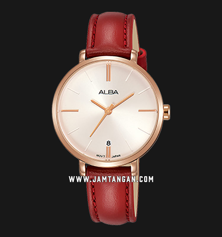 Alba AG8J64X1 Ladies Silver Dial Red Leather Strap Machtwatch
