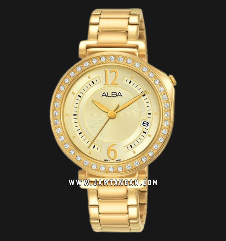 Alba AG8K08X1 Gold Dial Gold Stainless Steel Strap Machtwatch