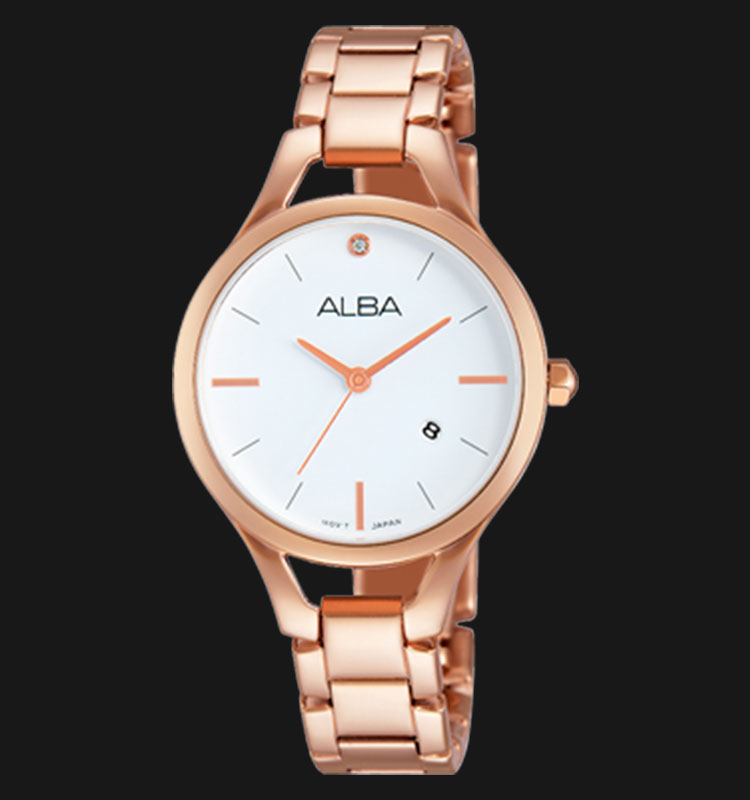 Alba AH7F14X1 White Dial Rose Gold Stainless Steel Bracelet Machtwatch