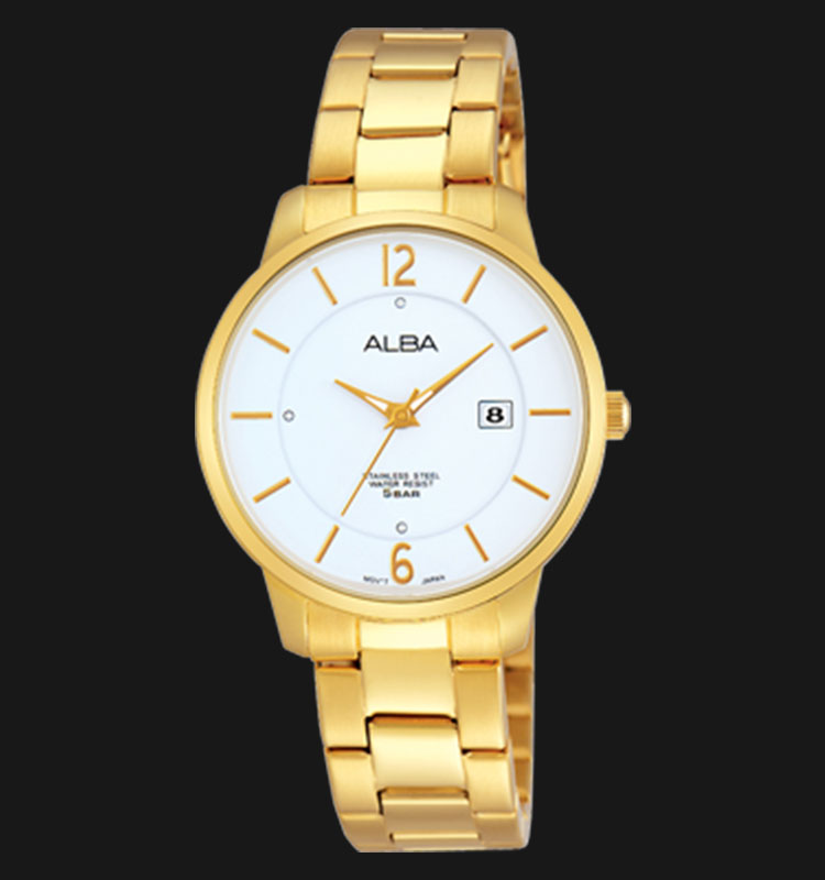 Alba AH7F50X1 White Dial Gold Stainless Steel Bracelet Machtwatch