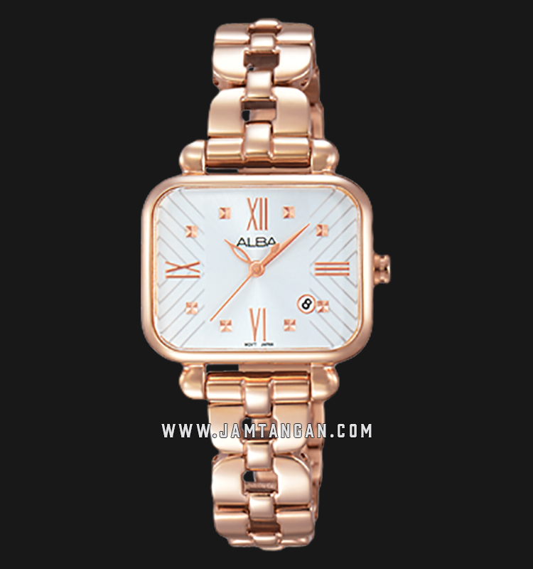 Alba AH7J96X1 White Dial Rose Gold Stainless Steel Machtwatch