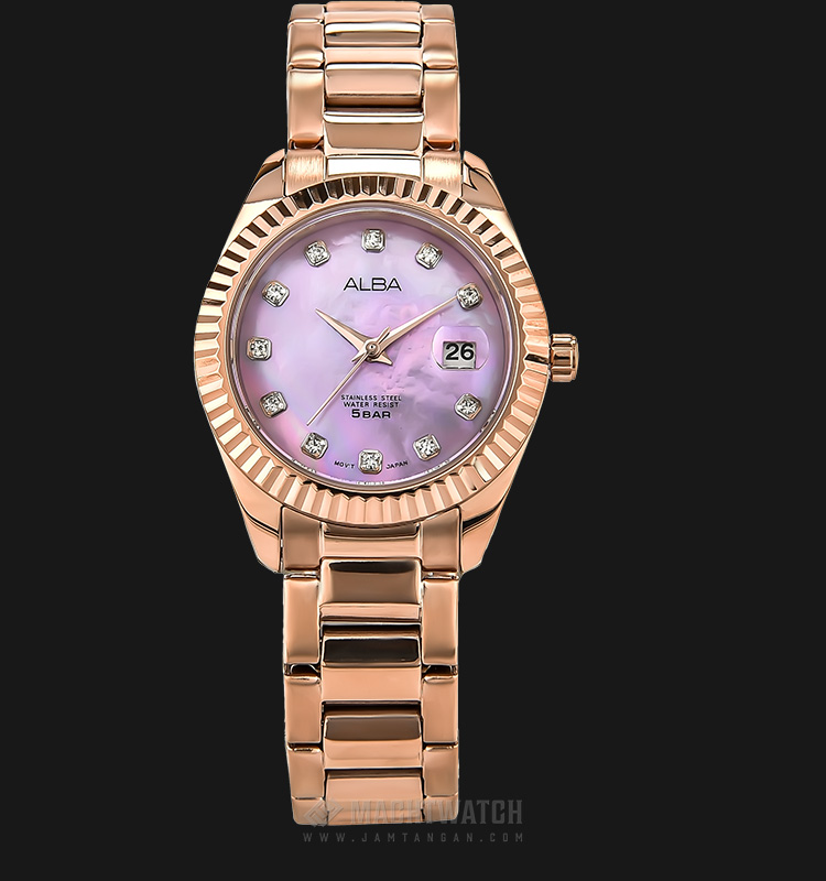 Alba AH7M52X1 Ladies Purple Mother of Pearl Dial Rose Gold Stainless Steel Strap Machtwatch