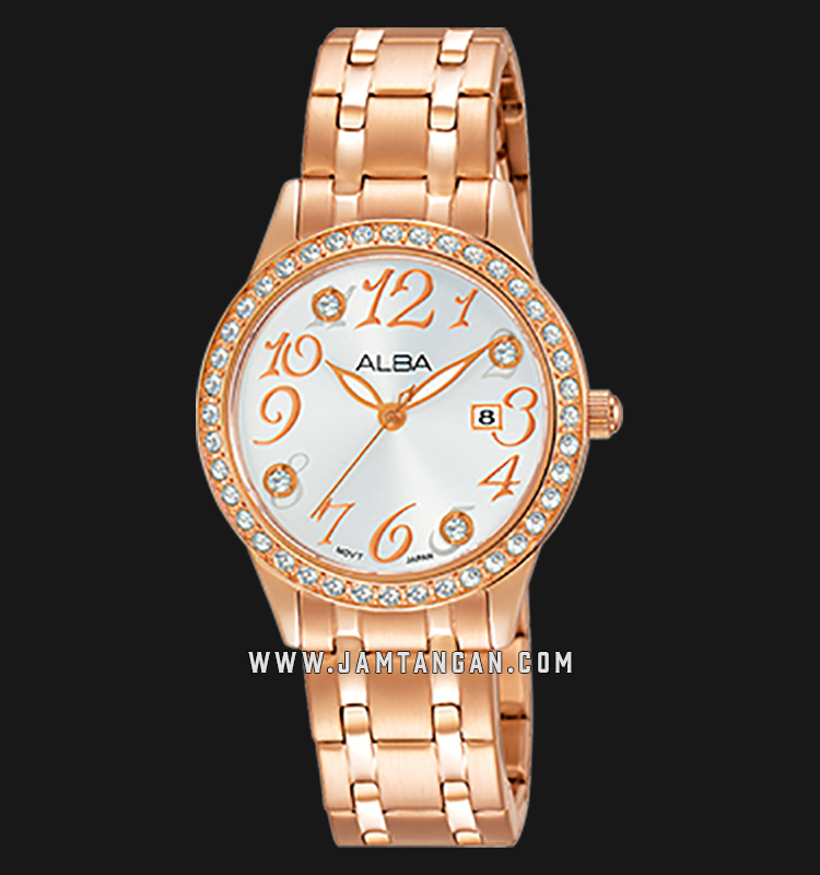 Alba AH7P24X1 White Dial Rose Gold Stainless Steel Machtwatch