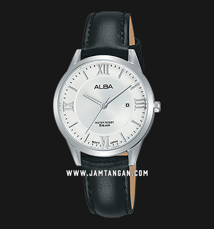 Alba AH7R43X1 Ladies Silver Dial Black Leather Strap Machtwatch