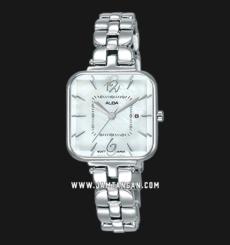 Alba AH7R69X1 Ladies White Mother of Pearl Dial Stainless Steel Strap Machtwatch