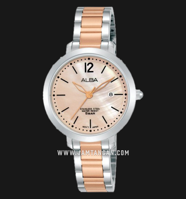 Alba AH7S95X1 Ladies Rose Gold Dial Dual Tone Stainless Steel Strap Machtwatch