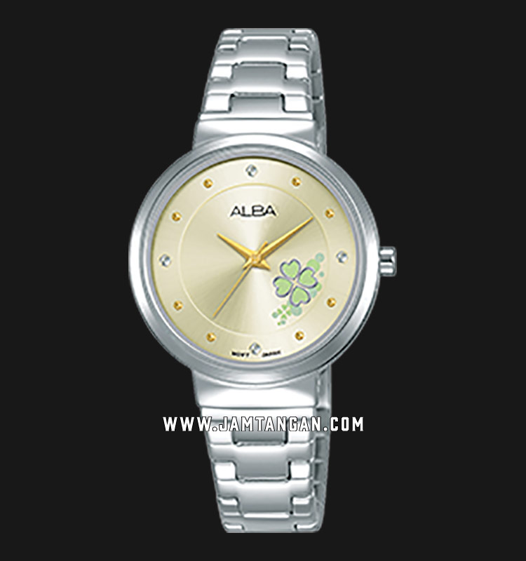 Alba AH8497X1 Ladies Champagne Dial Stainless Steel Strap Machtwatch