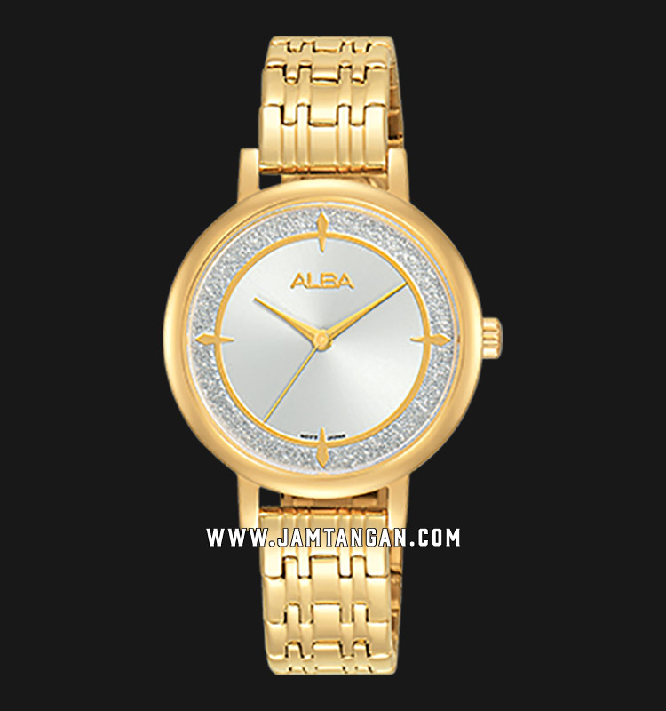 Alba AH8526X1 Ladies Silver Dial Gold Stainless Steel Strap Machtwatch