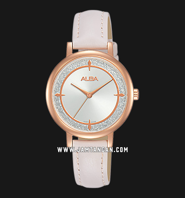Alba AH8534X1 Ladies Silver Dial White Leather Strap Machtwatch