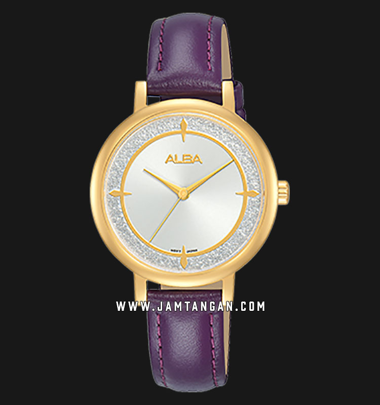Alba AH8536X1 White Dial Purple Leather Strap Machtwatch
