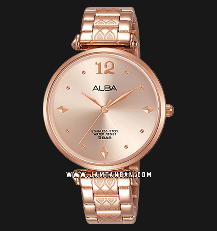 Alba AH8552X1 Rose Gold Dial Rose Gold Stainless Steel Machtwatch