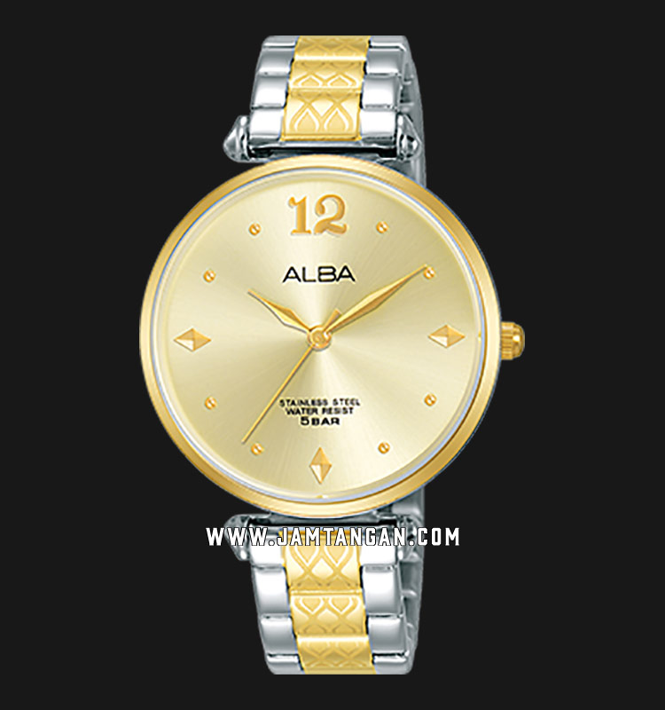 Alba AH8556X1 Ladies Champagne Dial Dual Tone Stainless Steel Strap Machtwatch