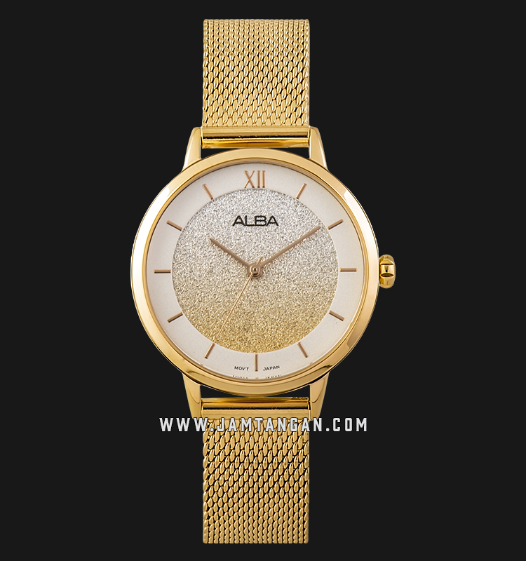 Alba AH8628X1 Ladies Glitter Dial Gold Stainless Steel Strap Machtwatch