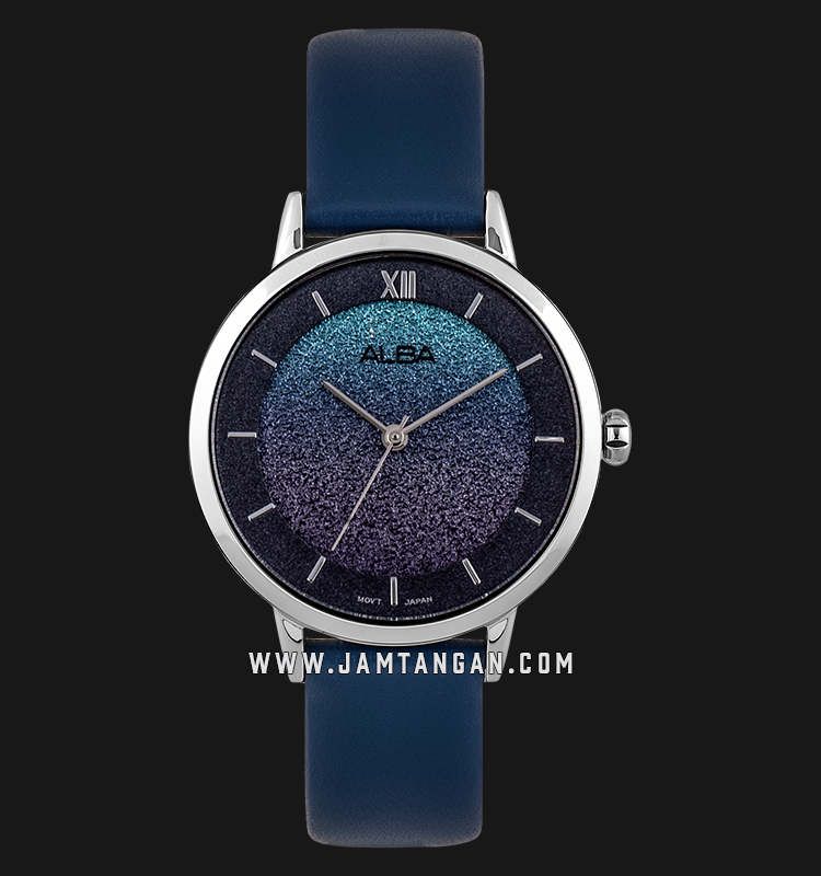 Alba AH8639X1 Ladies Glitter Dial Blue Leather Strap Machtwatch