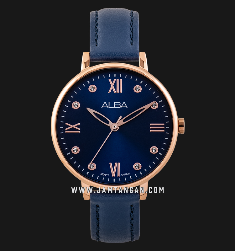 Alba AH8668X1 Ladies Blue Dial Blue Leather Strap Machtwatch