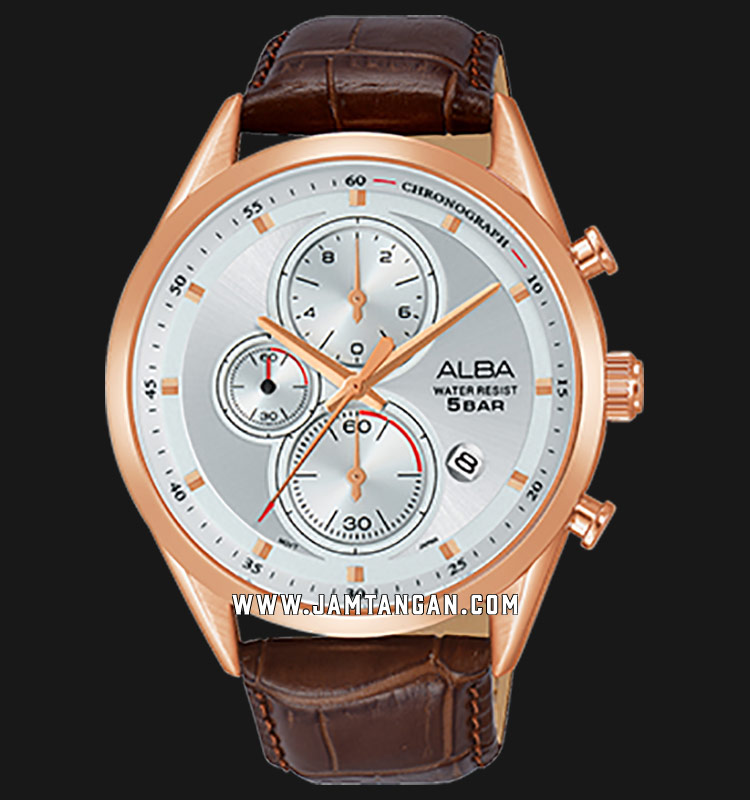 Alba AM3430X1 Chronograph Men Silver Dial Brown Leather Strap Machtwatch