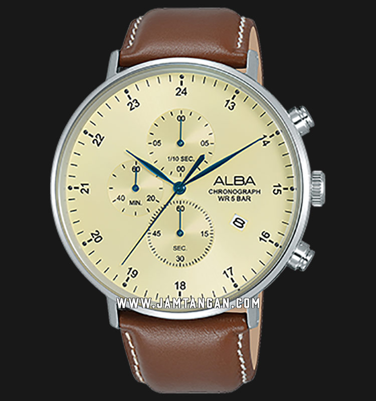 Alba AM3617X1 Chronograph Men Biege Dial Brown Leather Strap Machtwatch