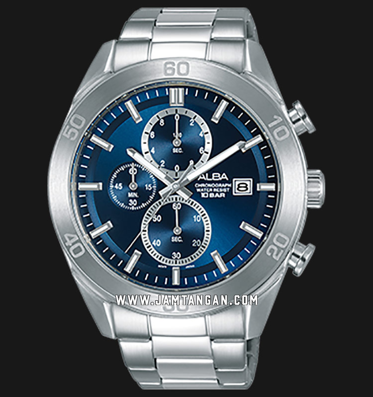 Alba AM3625X1 Chronograph Men Blue Dial Stainless Steel Strap Machtwatch