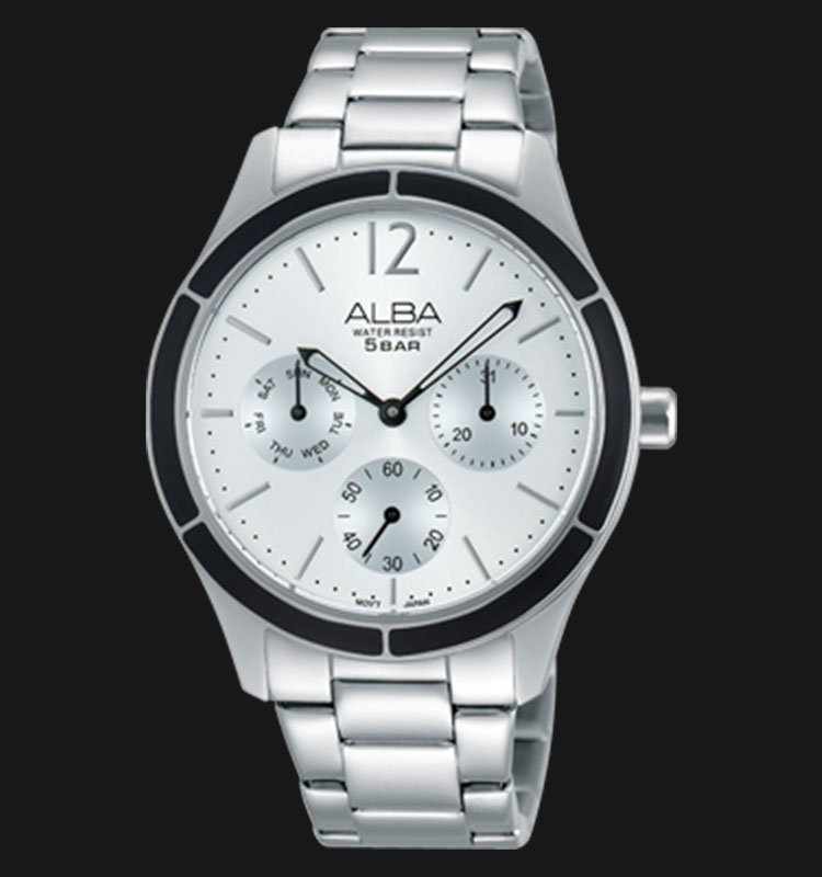 Alba AP6329X1 Day and Date Silver Dial Stainless Steel Bracelet Machtwatch