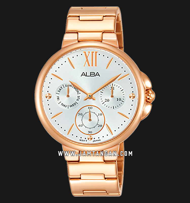 Alba AP6568X1 Ladies Silver Dial Rose Gold Stainless Steel Strap Machtwatch