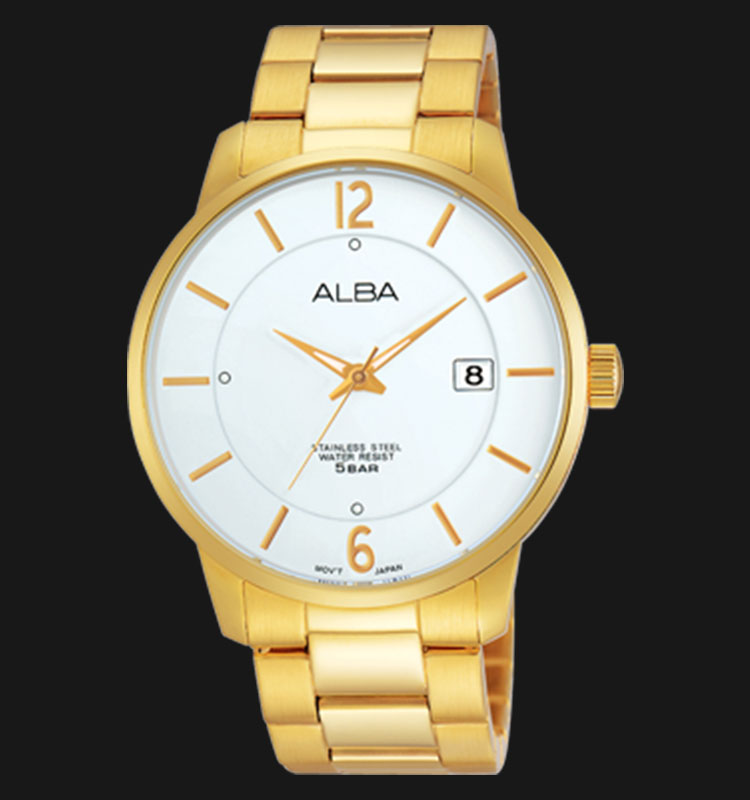Alba AS9968X1 White Dial Gold Stainless Steel Bracelet Machtwatch