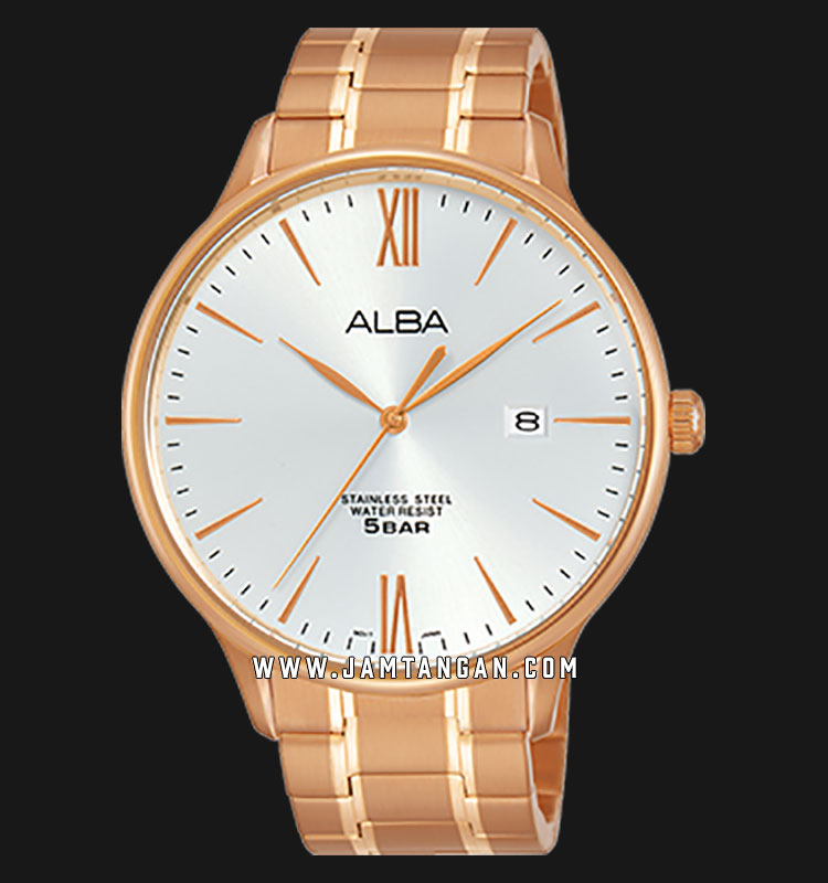 Alba AS9E04X1 Men Silver Dial Rose Gold Stainless Steel Machtwatch