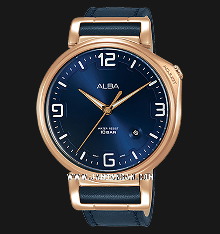 Alba AS9F92X1 Men Blue Dial Blue Leather Strap Machtwatch