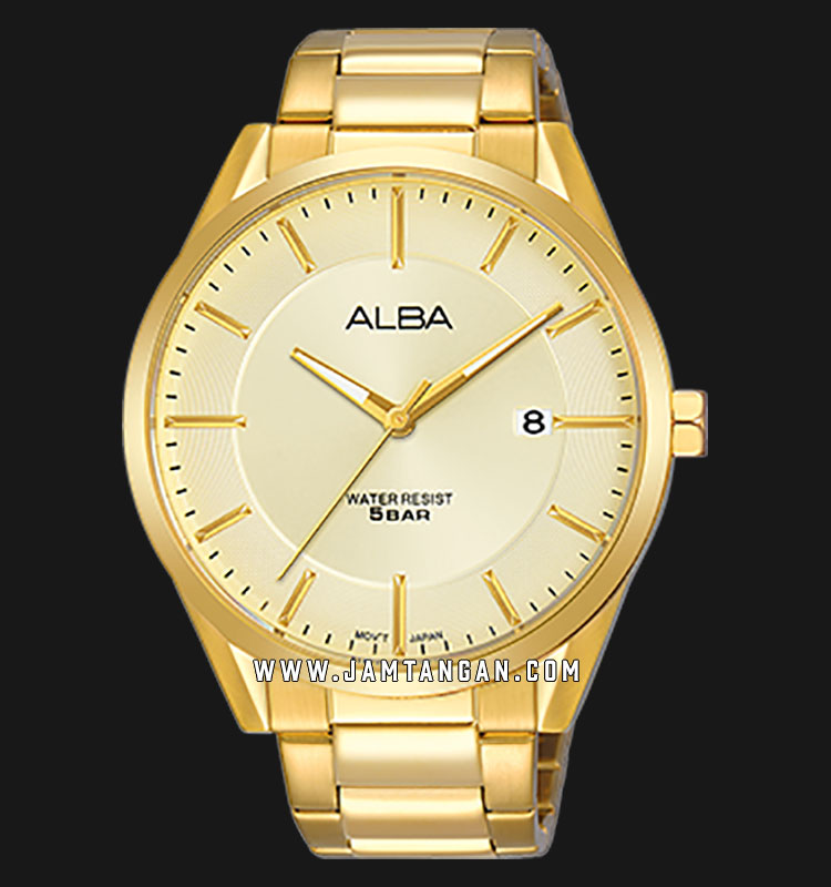 Alba AS9G42X1 Men Champagne Dial Gold Stainless Steel Strap Machtwatch