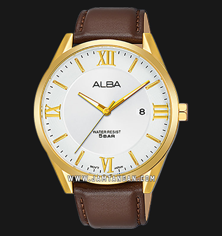 Alba AS9G50X1 Men Silver Dial Brown Leather Strap Machtwatch