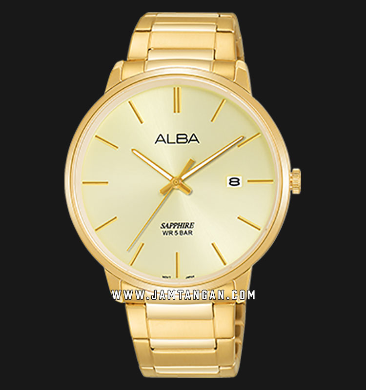 Alba AS9G58X1 Men Champagne Dial Gold Stainless Steel Strap Machtwatch