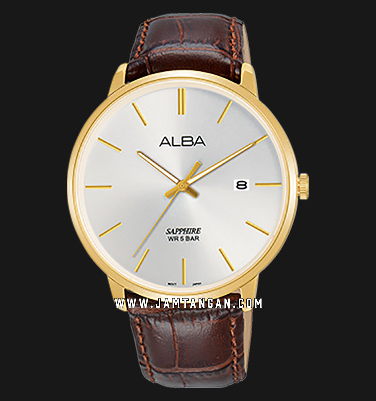 Alba AS9G68X1 Men Silver Dial Brown Leather Strap Machtwatch