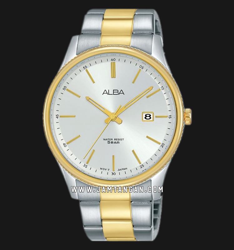 Alba AS9H54X1 Men Silver Dial Dual Tone Stainless Steel Strap Machtwatch
