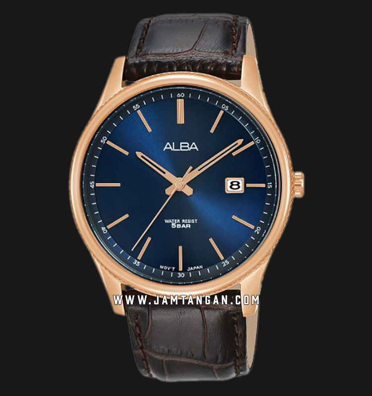 Alba AS9H58X1 Men Blue Dial Brown Leather Strap Machtwatch