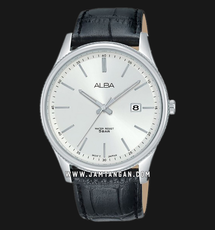 Alba AS9H61X1 Men Silver Dial Black Leather Strap Machtwatch