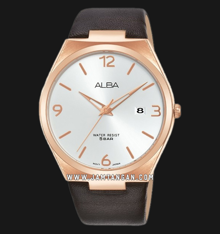 Alba AS9H88X1 Men Silver Dial Brown Leather Strap Machtwatch