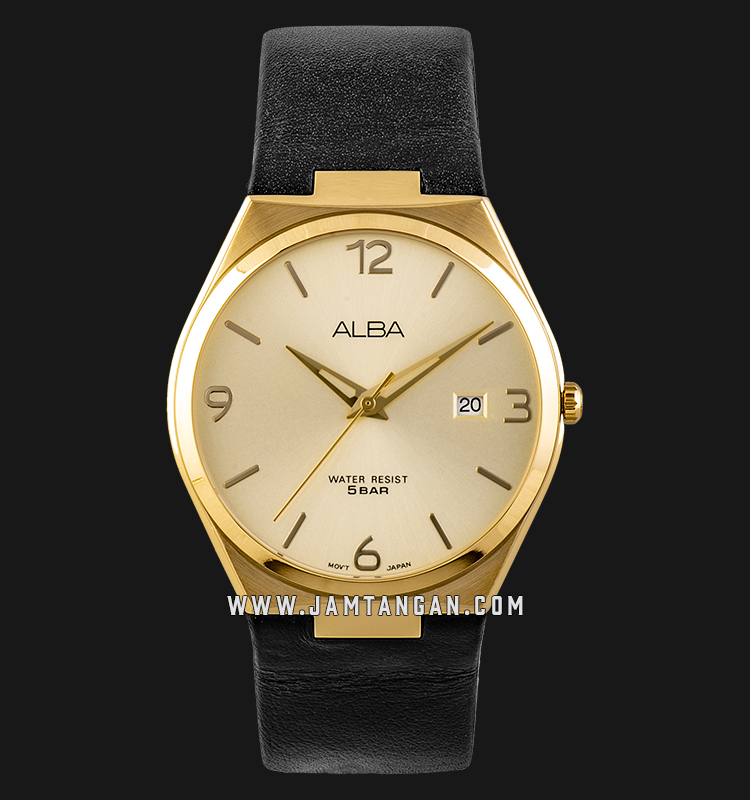 Alba AS9H94X1 Men Champagne Dial Black Leather Strap Machtwatch