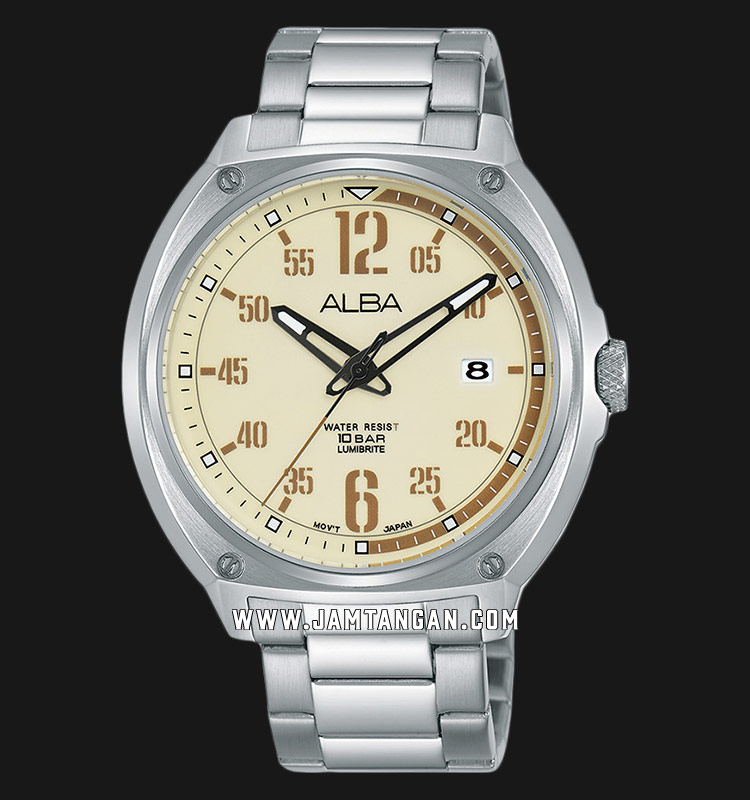 Alba Active AS9J35X1 Men Beige Pattern Dial Stainless Steel Strap Machtwatch