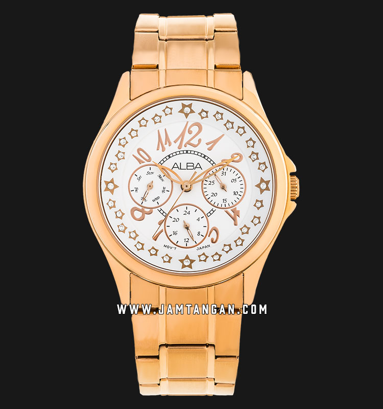 Alba ASPE58X1 Ladies White Dial Rose Gold Stainless Steel Strap Machtwatch