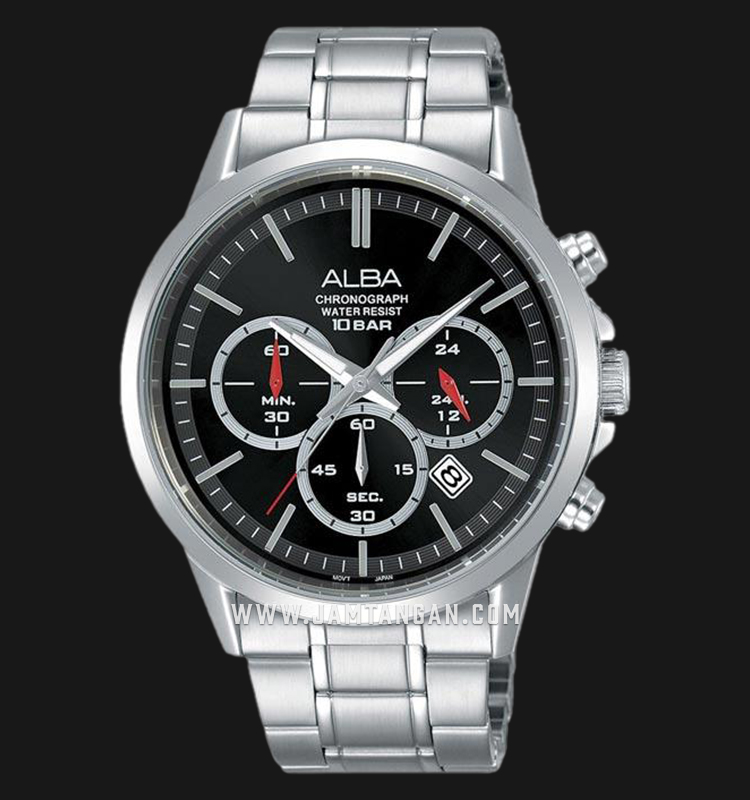 Alba AT3B87X1 Chronograph Men Black Dial Stainless Steel Strap Machtwatch