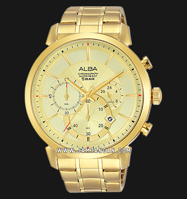Alba AT3C34X1 Chronograph Men Gold Dial Gold Stainless Steel Strap Machtwatch
