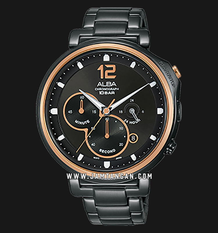 Alba AT3E12X1 Chronograph Men Black Dial Black Stainless Steel Strap Machtwatch