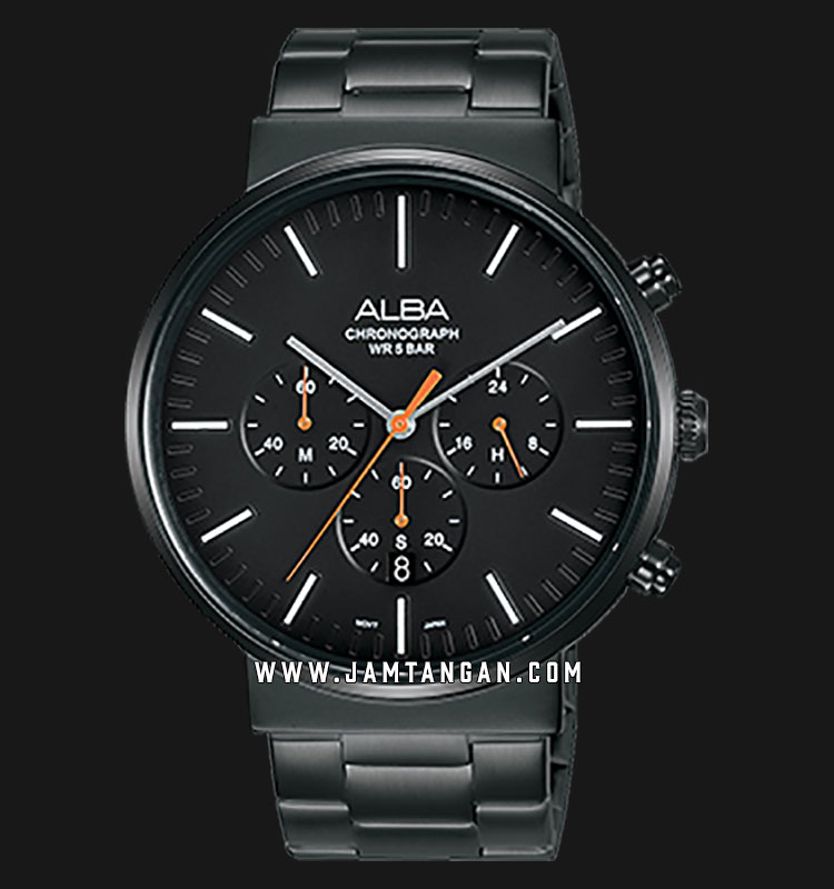 Alba AT3E23X1 Chronograph Men Black Dial Black Stainless Steel Strap Machtwatch
