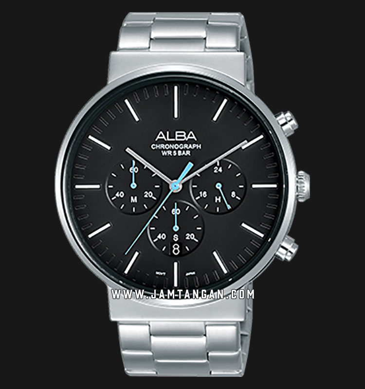 Alba AT3E27X1 Chronograph Men Black Dial Stainless Steel Strap Machtwatch