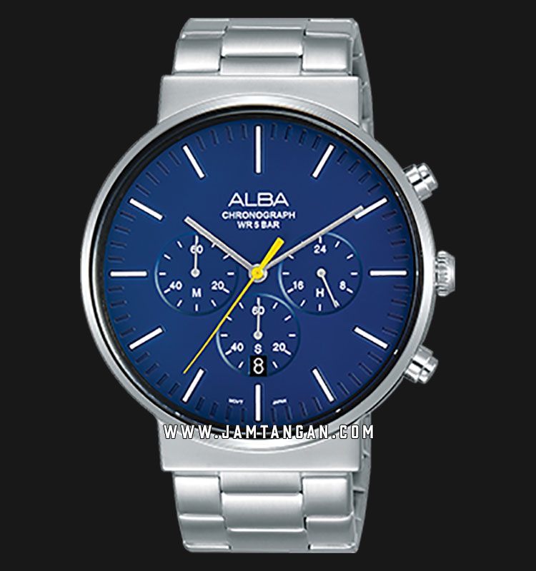 Alba AT3E29X1 Chronograph Men Blue Dial Stainless Steel Strap Machtwatch