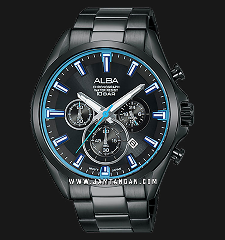 Alba AT3E51X1 Chronograph Men Black Dial Black Stainless Steel Strap Machtwatch