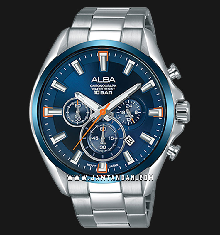 Alba AT3E53X1 Chronograph Men Blue Dial Stainless Steel Strap Machtwatch